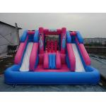 Outdoor Amusement Park Black Color Inflatable Water Slide With Pool For Kids