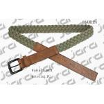 Khaki Polyester / Brown PU Mens Braided Belts With Square PU Tip 3.4cm Width for sale