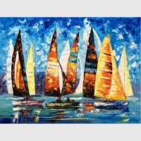 Abstract Sailing Ship Oil Painting by palette knife / Hand Painted Thick Oil Painting for sale