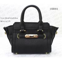 Small Ledis Hand Bag , Female Black Color PU Tote Bag With 23*12*18cm Size for sale