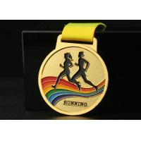 China Marathon Running Race Sports Medals And Ribbons Colorful Zinc Alloy Material for sale