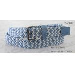 Blue / White Braided Kids Elastic Belts For Boys Old Silver Roller Buckle Available for sale
