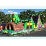 China 50ft kids and adults giant inflatable tropical obstacle challenge course with slide for outdoor commercial used for sale