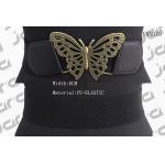 Butterfly Old Brass Buckle PU Ladies Wide Black Elastic Belts 6cm Width for sale