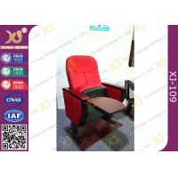 Red Color Church Lecture Hall Seating MDF Writing Pad Cocked PP Outerback for sale