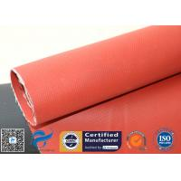 China Fire Resistant Red 0.45mm Silicone Coated Fiberglass Fabric For Smoke Screen for sale