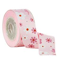 2 Colors Ink Screen Flower Printed On Pink Grosgrain Ribbon Cake Boxes Wrapping for sale