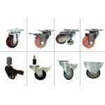 Red Stem Caster Wheel Black Bracket Castor Swivel PU Caster Adapter With Brake for sale