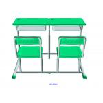 China Mint Green Student Desk And Chair Set HDPE Iron Adjustable School Furniture for sale
