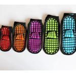 China Soft Breathable Non Slip Grip Socks , Black Color High Jump Socks , Professional Children Trainer Trampoline Socks for sale