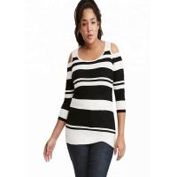 China Drop Shoulder Oversized Knit Sweaters Stripe Knitted Polyester / Cotton Material for sale