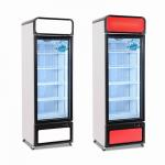 China 450L Commercial Single Glass Door Beverage Showcase Cooler Upright Display Freezer for sale