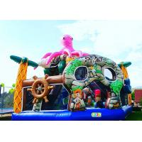 China Pink Octopus Pirate Bouncy Castle Playground 6 * 6 * 5.5 Meters With Transporting Bag supplier