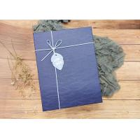 Navy Textured Rectangle Cardboard Boxes With Leather Rope for sale