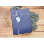 Navy Textured Rectangle Sturdy Cardboard Boxes With Leather Rope For Packaging for sale