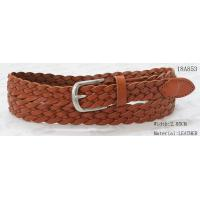 China Tan Geniune Leather Braided Belt For Lady With Nickel Satine Buckle & Leather Tip for sale