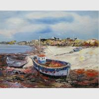 China Hand Painted Fishing Boats Oil Paintings, Abstract Canvas Painting on Beach for sale