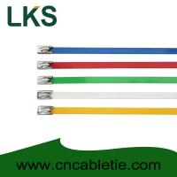4.6*150mm 201,304,316 grade epoxy polyester coated Ball-lock stainless steel cable ties