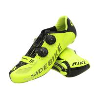 China Fluorescent Yellow Cycling Shoes / Carbon Fiber High Stiffness Light Weight Bike Shoes supplier