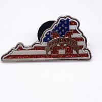 1.5 Inch Metal Plated Die Struck Enamel Pins , Brass Material Glitter Safety Pins for sale