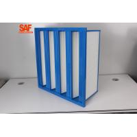 China F7 High Flow Custom Air Filters V Bank / Cell ABS Plastic Frame Fiberglass Single Flange Type for sale
