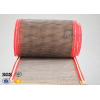China Brown PTFE Coated Fiberglass Mesh Fabric Conveyor Belt 4X4 mm for sale