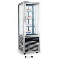 China 418L Stainless Steel Frame Single Temperature Four-sides Tempered Glass Refrigerated Cake Display Cabinets for sale