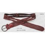 China Bugundy Geniune Leather Plaited Belt For Lady , 4cm Decoration Belt With Black Nickel Buckle for sale