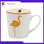 China 420ml flamingo ceramic cup coffee mugs set new bone china mug with gold decal for sale