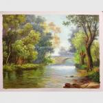China Abstract Original Oil Landscape Paintings / Oak Green Tree Oil Painting On Canvas for sale