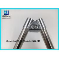 Oblique Double Chrome Pipe Connectors Clamp Clip Lean Tube For Floor Display Board for sale