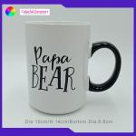 Straight Personalised Stoneware Pottery Coffee Mugs Oversized With Black Handle for sale