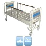 Two Functions Medical Manual Hospital Bed With Two Cranks And Over Bed Table