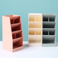 Simple Plastic Pencil Storage Box Transparent Nordic Stationery Holder With Widened Six-Compartment