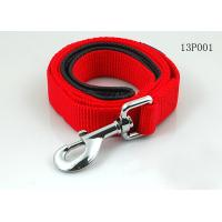 Red / Black Strong Polyester Rope Dog Leash With Nickel Metal Hook / Nickel Buckle for sale
