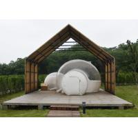 China 4m outdoor transparent inflatable camping bubble tent with frame tunnel entrance for sale