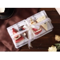 Triangle Cut 4 Piece PET PS Disposable Cake Trays for sale