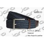 Wax Rope Navy Mens Braided Belts Antic Silver Zinc Alloy Buckle Available for sale