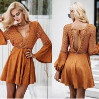 China New Design Women Long Sleeve Hollow Out Dress in Causal Dresses Mini Sexi for sale