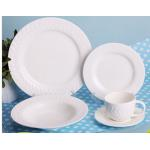 China Super White Porcelain Dinnerware Sets 20 Pieces With Embossment for sale