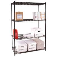 Four Tier Office Storage Steel Wire Shelving / Black Metal Freestanding Rack for sale
