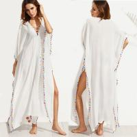 China Bohemian White Lace-up Long Summer Beach Cover Up Dress with Split for sale