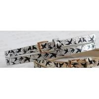Metallic Shiny PU Childrens Designer Belts For Kids With Black Birds Printing In 1.10cm for sale
