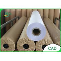 China 36 24 Inch Plotter Paper Roll , 80gsm Wide Format Plotter Paper Moisture Proof for sale